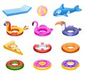 Inflatable float. Cute sea water mattress, summer pool party accessories. Kids rubber rings, swimming floats donut