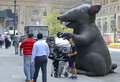Inflatable rat used by labor unions in nyc new york–circa september rats known as scabby the are to protest working conditions Stock Image