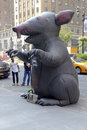Inflatable rat used by labor unions in nyc new york–circa september rats known as scabby the are to protest working conditions Royalty Free Stock Images