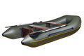 Inflatable rubber boat made of pvc two seat twin with oars dark green for fishing and hunting seats person plywood mahogany pair Royalty Free Stock Photo