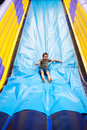 Inflatable slide in kids playground Royalty Free Stock Images