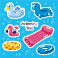 Inflatable swimming float set. Cute water toys flamingo, swan, rings floats. Beach party vector summer stickers. Trendy