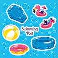 Inflatable swimming float stiskers. Cute water toys flamingo, ball, unicorn floats. Beach party vector summer stickers