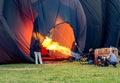 Inflating hot air balloon burner Royalty Free Stock Photo