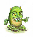 Inflation money monster Royalty Free Stock Photo