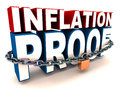 Inflation proof words with chains and lock concept of investment Stock Photography