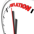 Inflation text on the top of a clock Royalty Free Stock Photos