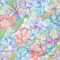Inflorescence Hydrangea randomly arranged in seamless pattern, vector illustration in hand drawing style.