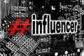 Influencer with circuit board concept background