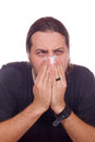 Influenza and stuffy nose sick man has Royalty Free Stock Photo
