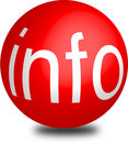 Info  button red aqua sphere 3d Royalty Free Stock Image