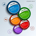 Info graphic with colored round design labels template