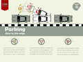 Info graphic how to parking close to the edge Royalty Free Stock Photo