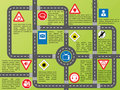 Info graphic with roads and stylish signs Royalty Free Stock Images