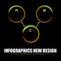 Info graphics in the style of neon rays and meatball sphere illuminated and bright Stock Photos