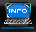Info on laptop means computer knowledge information and assistan meaning assistance online Royalty Free Stock Photo