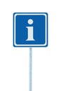 Info sign, blue, white i letter icon, frame, isolated roadside information road signage pole post large detailed framed closeup Royalty Free Stock Photo