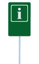 Info sign in green, white i letter icon and frame, blank empty copy space background, isolated roadside information signage pole Royalty Free Stock Photo