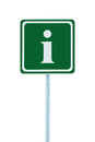 Info sign in green, white i letter icon frame, isolated roadside information signage pole post, large detailed framed roadsign Royalty Free Stock Photo