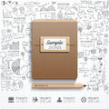 Infographic Book with  doodles line drawing success strategy Royalty Free Stock Photo