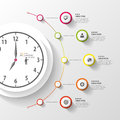 Infographic. Business Clock. Colorful circle with icons. Vector Royalty Free Stock Photo