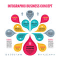 Infographic Business concept - abstract background - creative vector Illustration with colorful petals and Icons. Royalty Free Stock Photo