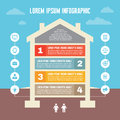 Infographic Business Concept - House Illustration in Flat Design Style - Numbered Options Graphic Structure
