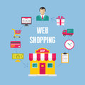 Infographic Business Concept - Web Online Shopping Royalty Free Stock Photo