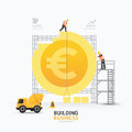 Infographic business euro coin shape template design.building to Royalty Free Stock Photo