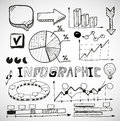 Infographic business graphs doodles vector Stock Photos