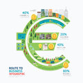 Infographic business money euro shape template design.route to s Royalty Free Stock Photo