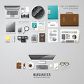 Infographic business office tools flat lay idea. Royalty Free Stock Photo