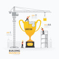 Infographic business trophies shape template design.building to Royalty Free Stock Photo