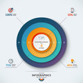 Infographic concentric diagram template with 4 options Royalty Free Stock Photo
