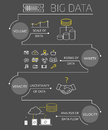 Infographic contour illustration of big data v concept visualisation on gray background text outlined free font exo and open sans Royalty Free Stock Images