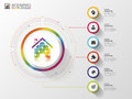 Infographic. Creative abstract house. Colorful circle with icons. Vector illustration Royalty Free Stock Photo