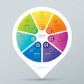 Infographic design and business icons with 7 options.