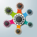 Infographic design connected gears options with colored and white on the grey background eps file Royalty Free Stock Photo