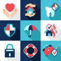 Infographic design elements protect safe health vector insurance concepts in flat style icons and and and property Royalty Free Stock Images