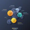 Infographic design layout with separate circular transparent elements on dark background