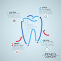 Infographic design template with elements connected by lines in shape of tooth