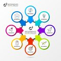 Infographic design template. Organization chart with 8 steps