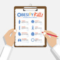 Infographic for 8 Diseases due to obesity in flat design. Doctor's hand holding clipboard. Medical and healthcare report.