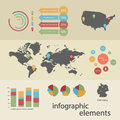 Infographic elements with map of the world Royalty Free Stock Photo
