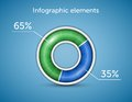 Infographic elements pie chart round progress bar on blue background with blue green indicator vector illustration Stock Photography