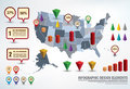 Infographic elements presentation template with a map of the united states and different for statistics Stock Image