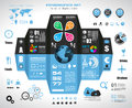 Infographic elements set of paper tags technology icons cloud cmputing graphs arrows world map and so on ideal for Stock Photo