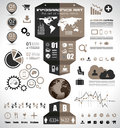 Infographic elements set of paper tags technology icons cloud cmputing graphs arrows world map and so on ideal for Royalty Free Stock Image