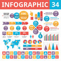 Infographic elements 34. Set of vector design elements in flat style for business presentation, booklet, web site and projects. Royalty Free Stock Photo