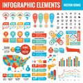 Infographic elements template collection - business vector Illustration for presentation, booklet, website etc. Royalty Free Stock Photo